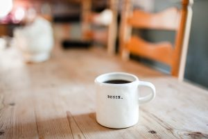 Image of mug with the word Begin