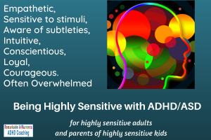 Image of colourful brain with text describing a discussion group for Highly Sensitive people with ADHD/ASD